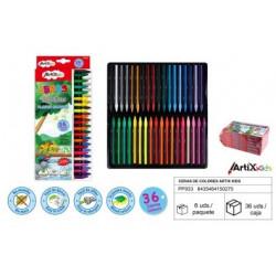 Ceras plásticas. Artix Kids. 36 Colores