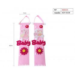 Colgante Baby Rosa. Colgante decoración para baby shower y bautizo