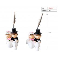 Figura de yeso 'Recién Casados' con pinza porta-tarjetas y fotos