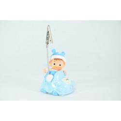 Figura para bautizo de bebe azul. Porta-tarjetas de yeso