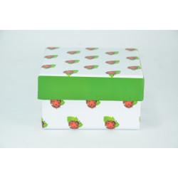 Cajita para regalo con Mariquitas. 8,5*8,5 cm