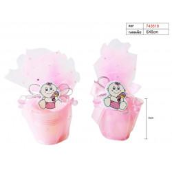 Cubo 'Baby Girl' de lata con tul rosa para bautizo y baby shower