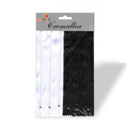 Set Cremalleras 20 cm Negro y Blanco 6 unidades