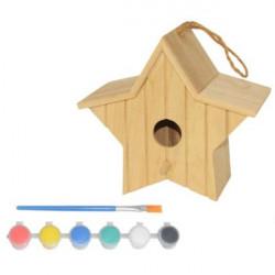 Nido de madera para pájaros en forma de estrella - Casita para pájaros