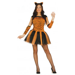 Disfraz de tigresa adulta. Vestido de tigresa sexy