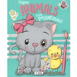 Libro Colorea Super Animals con pegatinas - Libro para colorear infantil