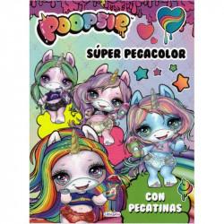 Libro Poopsie Super pegacolor con pegatinas - Libro de unicornios para colorear