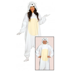 Disfraz pijama de oso polar para adulto. Disfraz de oso blanco para mujer y hombre