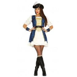Disfraz de pirata lujo azul adulta. Vestido de corsaria