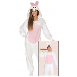 Disfraz pijama de conejo blanco para adulto. Disfraz de conejito para mujer y hombre