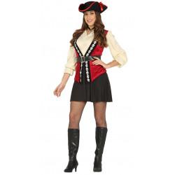 Disfraz de pirata adulta. Traje de bucanera para mujer.