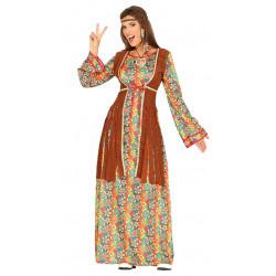 Disfraz de hippie años 60's adulta. Vestido largo de hippie