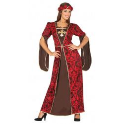 Disfraz de dama cortesana adulta. Vestido medieval rojo
