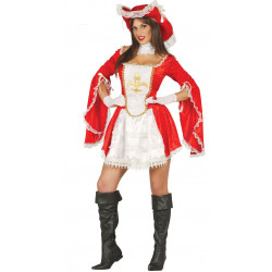 Disfraz de mosquetera adulta. Vestido de D'Artagnan rojo