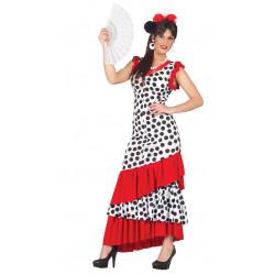 Disfraz de flamenca blanca adulta. Vestido de sevillana blanco