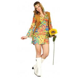 Disfraz de Hippie para adulta. Vestido corto de hippie de los 60's