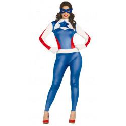 Disfraz de capitana superheroína adulta. Disfraz de Capitán América para mujer