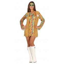 Disfraz Flower Power adulta. Vestido de hippie corto con chaleco
