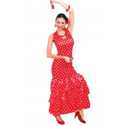 Disfraz de Flamenca Roja Adulta. Vestido de sevillana con lunares