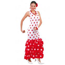 Vestido de flamenca Blanca adulta. Disfraz de sevillana para carnavales