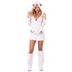 Disfraz de oso polar adulta. Vestido de osita blanca