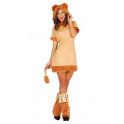 Disfraz de leona adulta. Vestido de gato marrón