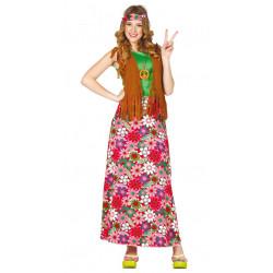 Disfraz de happy hippie adulta. Vestido largo de hippie de los 60's