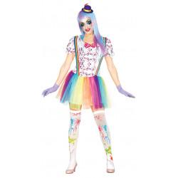 Disfraz de payasa arcoíris para mujer. Vestido de payasita multicolor
