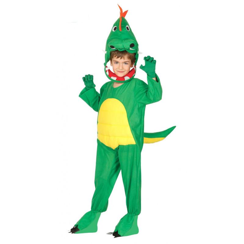 6f517f396 Disfraz de dinosaurio verde infantil. Pijama de dinosaurio para niño y niña