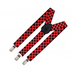 Tirantes Cuadros Negro/Rojo