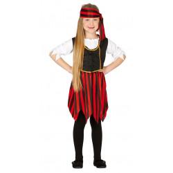 Disfraz de Corsaria Infantil - Disfraz de Pirata Rojo para Niña