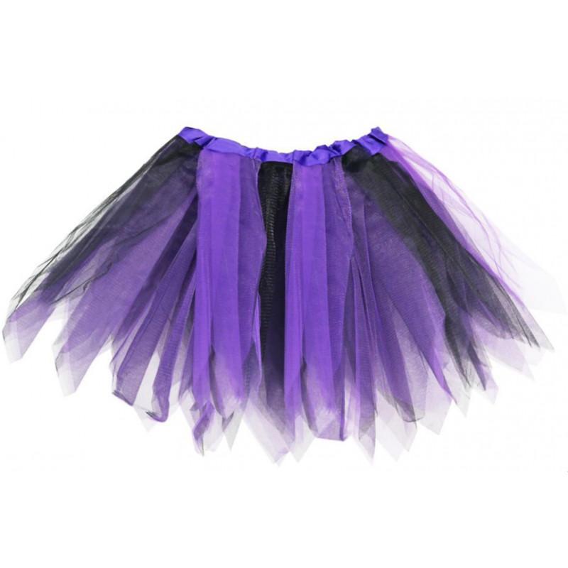 cfa23d5f1 Tutú Infantil Violeta & Negro - Falda de Tul 30cm