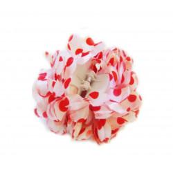 Flor Sevillana blanca & lunares rojos 13 cm