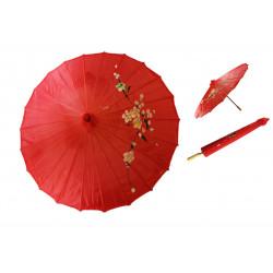 Sombrilla China con Flores Roja