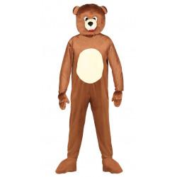 Disfraz de oso marrón de lujo para adulto