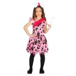 Disfraz de Pink cavegirl Infantil - Disfraz de la Edad Piedra para Niña