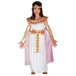 Disfraz de Egipcia Infantil, Vestido Blanco con Adornos para Niña