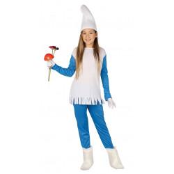 Disfraz de Pitufina Infantil - Vestido de Enanita Azul para Niña