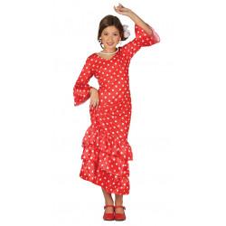 Disfraz de Flamenca Rojo Infantil - Disfraz de Danza Flamenco o Sevillana para Niña