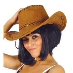 Sombrero cowboy marrón símil-piel