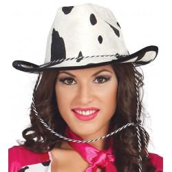 Sombrero vaquero blanco de piel de vaca