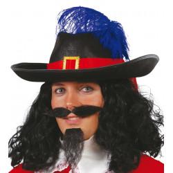Sombrero negro de mosquetero