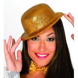 Sombrero bombin escarcha oro. Bombín con purpurina oro