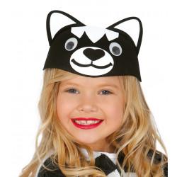 Casquete infantil de gato negro