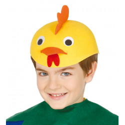 Casquete infantil de gallo amarillo