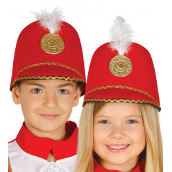Sombrero majorette rojo infantil. Sombrero de desfile para niño y niña