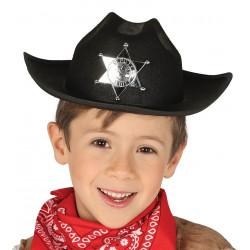 Sombrero negro de sheriff cowboy infantil