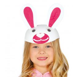 Casquete infantil de conejo blanco