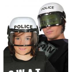 Casco blanco de policía fuerzas especiales