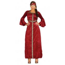 Disfraz de princesa renacimiento adulta. Vestido medieval rojo